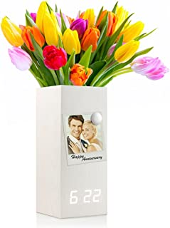 Oct17 Wooden Alarm Clock, Magnetic Wood Alarm Clock Voice Control Electric Smart LED Travel Digital Desk Clock Modern Vase - White with White Light