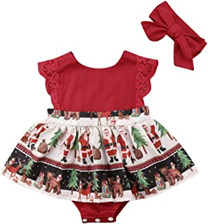 Newborn Infant Baby Girls Red Xmas Santa Romper Dress Christmas Lace Bodysuit Headband Outfit Clothes