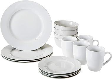 Amazon Basics 16-Piece Kitchen Dinnerware Set, Plates, Bowls, Mugs, Service for 4, White