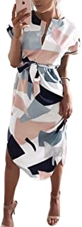 PORALA Womens Summer Dresses V-Neck Casual Work Geometric Pattern Midi Floral Print Belted Pencil Dress(XS-XXXL)