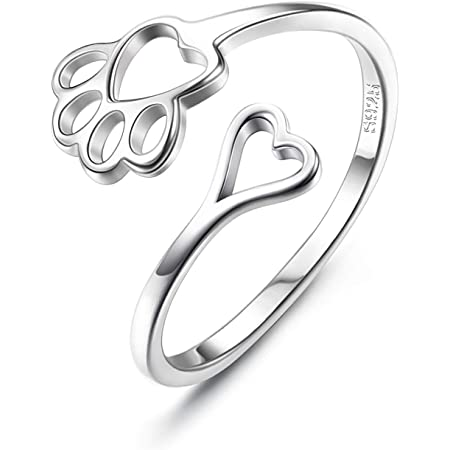CASSIECA 925 Sterling Silver Ring for Women and Girls Pet Lovers Openwork Heart Paw Animal Jewellery Creative Gift Adjustable Open Ring