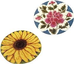 Hellery 2 Modell Latch Hook Kit Teppich Basteln 20 Zoll X 20 Zoll Sonnenblume Und Rose Wolle Nadel Und Anweisungen Kits Enth/ält Leinwand