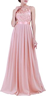 Nimiya Women's Embroidered Lace Chiffon Long Wedding Bridesmaid Dress Prom Cocktail Formal Gowns