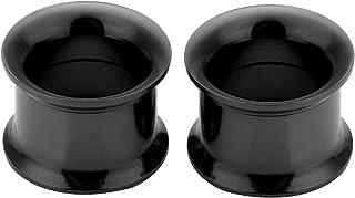 PiercingJ-Piercing dilatatori classici, di forma conica, in stile punk, 3-25 mm, 2 pezzi, colore: Nero