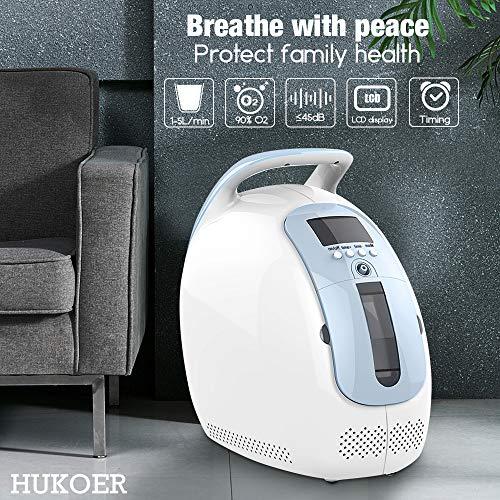 HUKOER 1-5L / min Sauerstoffkonzentrator Häusliche Pflege und Reisen Sauerstoffgerät mit...