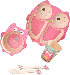 STOBOK Divided Suction Plates Toddler Fork Spoon Set Baby Suction Plates Baby Portable Non Slip Bowl Baby Dinner Plate Tod...