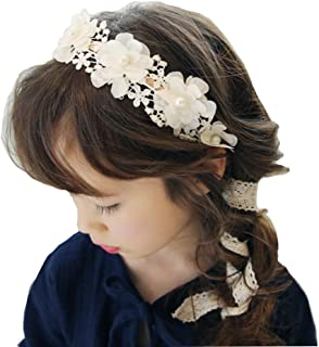 RQJ Girls Pearl Floral Princess Dress Headband Flower Wreath Costumes Handmade Garland Crown Halo with Long Ribbon