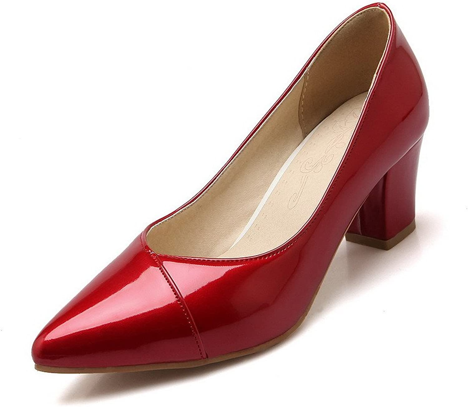 AllhqFashion Women's Blend Materials Solid Pull On Pointed Closed Toe Kitten Heels Pumps-shoes