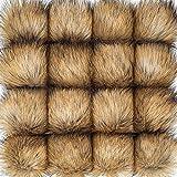 16 Piezas de Pompones de Piel Sintética Bola de Pom Pom de Piel para Sombrero Zapatos Bufanda Bolsa Llavero Encanto Accesorios de Gorra de Punto (Color Natural)