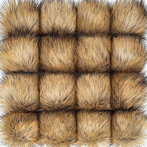 16 Pieces Faux Fur Pom Pom Ball DIY Fur Pom Poms for Hats Shoes Scarves Bag Pompoms Keychain Charms Knitting Hat Accessories (Natural)