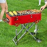 DJLOOKK Barbecue a Carbone Multifunzione Griglie, Barbecue per Fumatori con Rete Grigliata + Padella, griglia per Fumatori combinata, per Picnic all'aperto, Barbecue da Campeggio