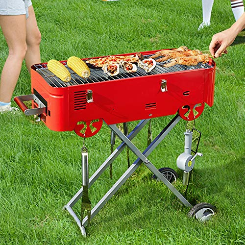 AAGYJ Multifunction Charcoal Barbecues Grills, Smoker BBQ Grill w/Grilled...