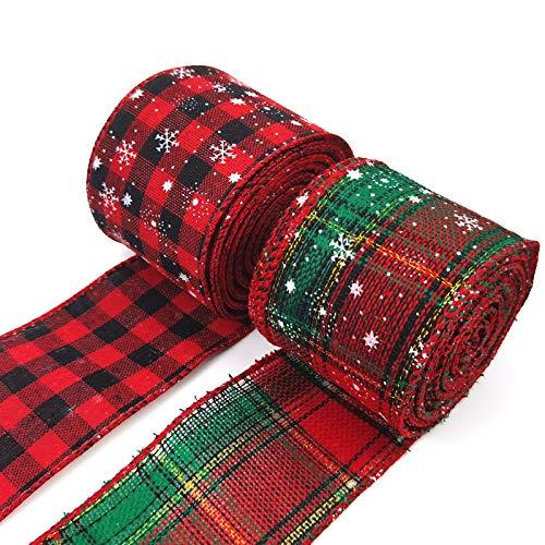 Unisoul Weihnachtsbänder Stoff Bänder Satinband kariert Dekoband Geschenkband für Weihnachten Hochzeit Verzieren DIY Handwerk zum Basteln Geschenkverpackung (Weihnachten)