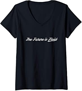 Womens The Future is Fluid Retro Genderfluid Gay Pride Gender Fluid V-Neck T-Shirt