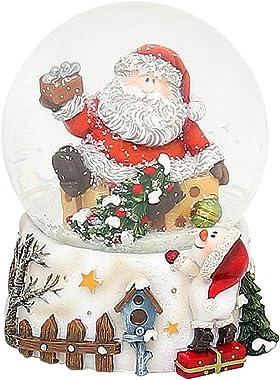 Dekohelden24 Petite boule à neige Père Noël L/l/H 7 x 7 x 9,5 cm Boule Ø 6,5 cm