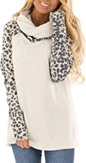 Blivener Women's Casual Sweatshirts Long Sleeve Leopard Print Tops Cowl Neck Raglan Shirts