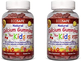 Coral Calcium Vitamin D3 Kids Gummy, Natural Cherry Flavor, Non GMO, Gluten-Free, Dairy-Free, Soy-Free and Gelatin Free - ...