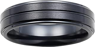Boston Bay Diamonds 7MM Comfort Fit Black Ceramic Ring Wedding Band with Triple Channel Accent