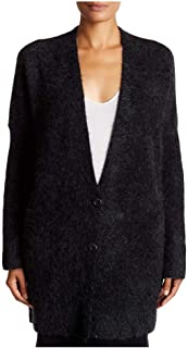 Charcoal Mohair Plush Melange V-Neck Long Cardigan L XL