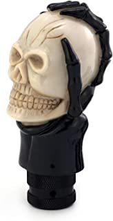 Thruifo Automatic Car Knob Shifter, Devil Skull Wand Head Style Manual Gear Stick Shift Knobs Fit Most MT Vehicles, Beige & Black