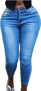 HINK Pantalones de Talla Grande, Pantalones de Mezclilla Largos con Degradado de Agujero Rasgado de Talla Grande para Mujer