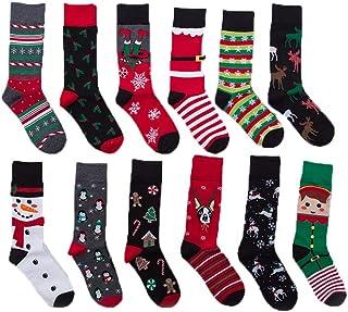 12 Pairs Unisex Premium Cotton Christmas Pattern Dress Socks with Bag