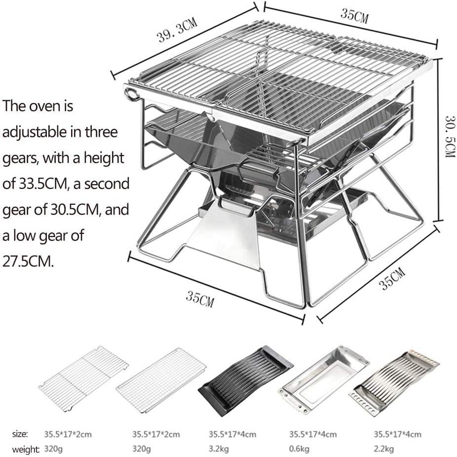 MENG Gril De Barbecue Portable Grille De Barbecue Au Charbon Réglable en Hauteur Pliable pour Pique-Nique sur Le Balcon Et Le Jardin, Pique-Nique en Plein Air, Camping,F E