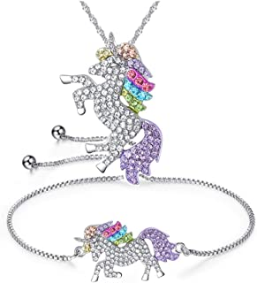 CHOA Silver Running Horse Earrings Necklace for Kids Cute Animal Jewelry for Women