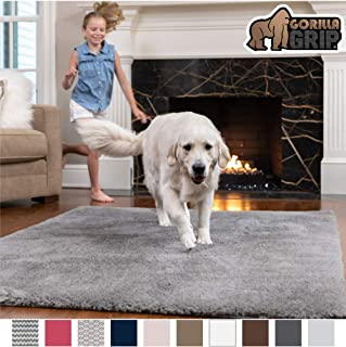 GORILLA GRIP Original Faux-Chinchilla Area Rug, 4x6 Feet, Super Soft and Cozy High Pile Washable Carpet, Modern Rugs for Floor, Luxury Shag Carpets for Home, Nursery, Bed and Living Room, Dark Gray