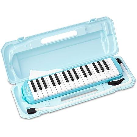RiZKiZ 鍵盤ハーモニカ 32鍵盤 【ライトブルー】 授業で使える 卓奏用 立奏用 ふき口 ホース ケース付 ホールドベルト 名前シールスペース付