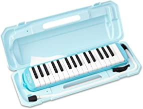 RiZKiZ Keyboard Harmonica 32 Keys (Light Blue), For Class Use, For Table Playing, Wiping Out, Hose, Case Included, Holding Belt, Name Seal Space Included