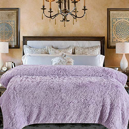 Chanasya Shaggy Longfur Faux Fur Throw Blanket - Fuzzy Lightweight Plush Sherpa Fleece Microfiber Blanket - for Couch Bed Chair Photo Props - Queen - Light Purple Orchid