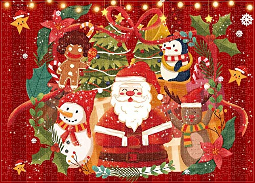 Christmas Santa Claus 1000 Piece Jigsaw Puzzle, Winter Holiday Jigsaws Puzzles Game Xmas Gifts for Adults Kids