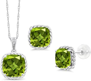 Gem Stone King 5.87 Ct Cushion Green Peridot 10K White Gold Diamond Pendant Earrings Set