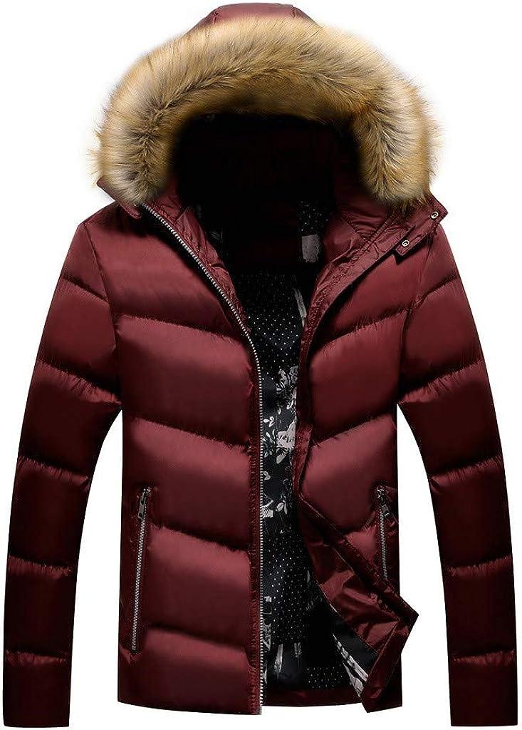 MODOQO Men's Winter Warm Coat with FUT Hood, Long Sleeve Zipper Windproof Outwear Hiking Camping