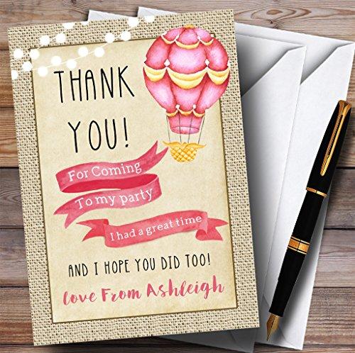 Vintage jute meisjes roze Hot lucht ballon partij dank u kaarten 80 Invitations roze