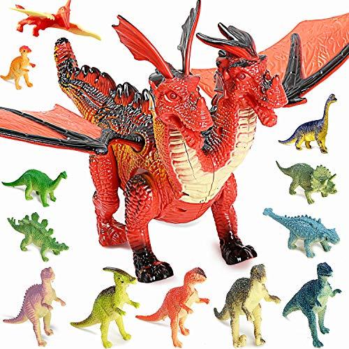 TTMOW Dinosaurier Spielzeug Set, Elektronik Walking und Brüllender Doppelköpfiger Dinosaurier mit Dino Figur 12pcs Geschenk zum Geburtstag und Party