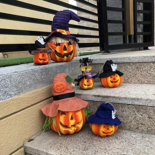 JOYIN 6 Pack Light up Halloween Jack-o'-Lantern Decorative Pumpkin Foam Halloween Decorations Props