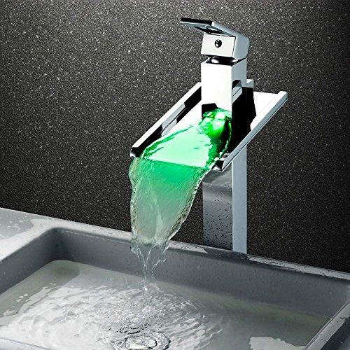 Rmckuva Robinets De Lavabo Robinet d'évier de salle de bains cascade cascade moderne LED lumière avec effet cascade mitigeurs robinet chromé enduit hydro puissance en laiton mélangeur