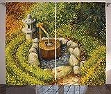 ABAKUHAUS Jardín de la Paz Cortinas, Linterna de la Cuenca del Agua, Sala de Estar Dormitorio Cortinas Ventana Set de Dos Paños, 280 x 175 cm, Multicolor
