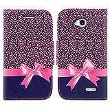 LG L70 Case, LG Ultimate 2 Case, SOGA PU Leather Magnetic Flip Design Wallet Case for LG Ultimate 2 L41C / LG L70 - Pink Leopard Ribbon Gift