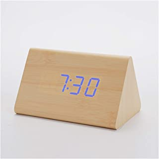 Wooden Alarm Clo Desktop Digital Clos Sound Control Snooze Wood LED Clo Thermometer Home Decor Gift Birthday Gift,Blue