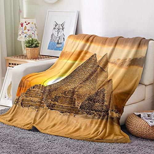 Gzjp Pirámide 3D Kuscheldecken Weich und Warm Gedruckte Decke Flanell Flauschige für Sofa,Sessel Bett,weiche Flauschige Wohndecke,Sofadecke,Reisedecke130x150 cm