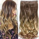 Extensiones de pelo de una pieza en 5 clips, Neverland, 61 cm, cabello largo, ondulado, teñido