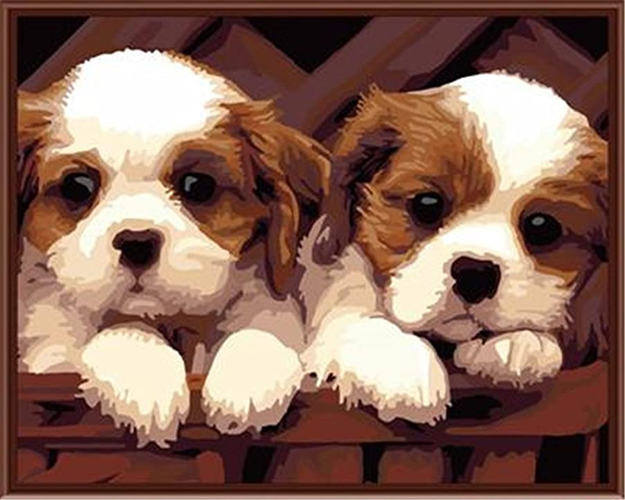 CaptainCrafts New Paint by Number Kits - Cute Baby Dog 16x20 inch Frameless - Diy Painting by Numbers for Adults Beginner Kids