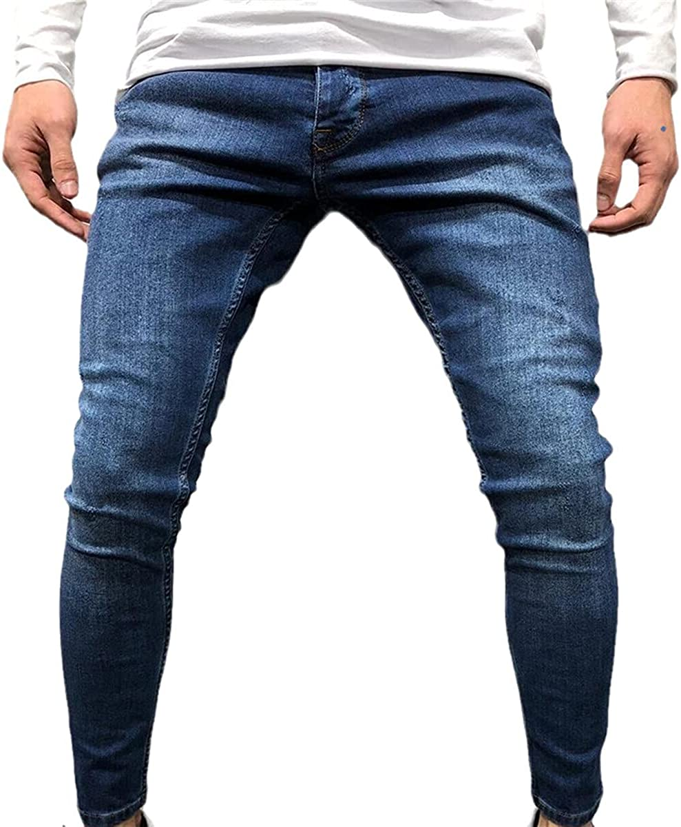 CACLSL Men's Sports Pants Sexy Ripped Jeans Casual Summer and Autumn Ripped Leggings Slim Locomotive Outer Pants