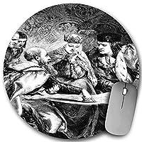 KAPANOU ラウンドマウスパッド カスタムマウスパッド、フェルディナンド王とイザベラ女王の宮廷でのクリストファー・コロンブス、PC ノートパソコン オフィス用 円形 デスクマット 、ズされたゲーミングマウスパッド 滑り止め 耐久性が 200mmx200mm