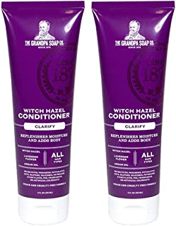 The Grandpa Soap Co. Witch Hazel Conditioner (Pack of 2) With Witch Hazel Water, Lavender Flower, Argan Oil, Shea Butter, Coconut Oil, Olive Fruit and Rosemary Leaf, 8 fl. oz. each