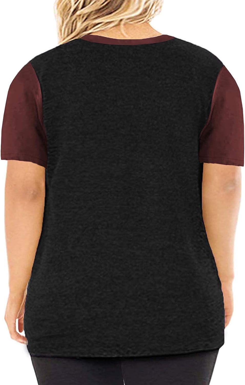 Eytino Women Plus Size 3//4 Sleeve Striped Loose T Shirt Round Neck Colorblock Tunic Blouse Tops 1X-5X