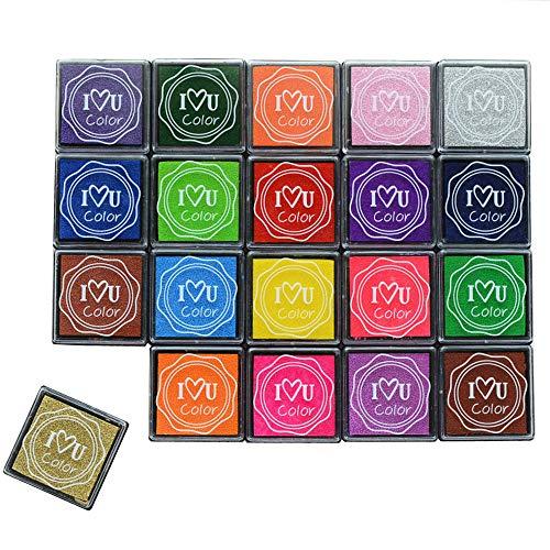 XUBX 20 Piezas Almohadillas de Tinta, Multicolor Tinta Sellos para Tela Artesanal de Papel,Libro de Recuerdos,Fabricación de Tarjetas de Sello de Arte de Goma DIY Scrapbooking Huellas Tinta
